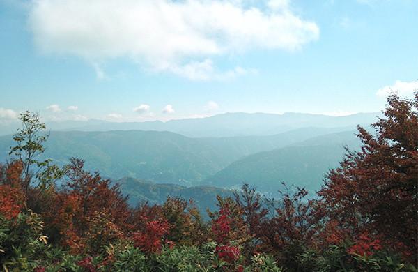山頂からの展望。金剛堂山がよく見えます。