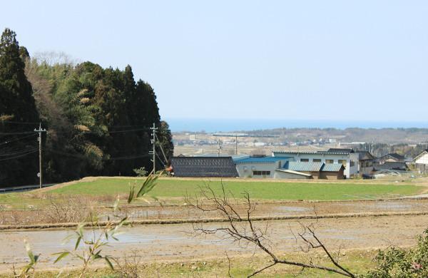 宝達山のふもとからのどかな田園越しに見える日本海